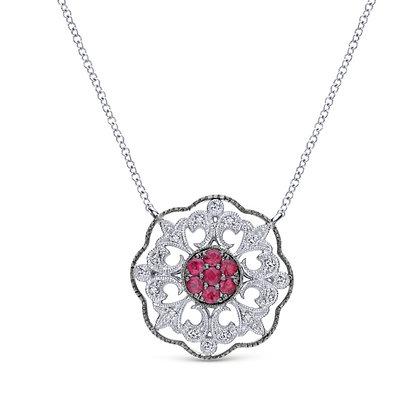 Ruby & Sapphire Fleur-de-lis Pendant