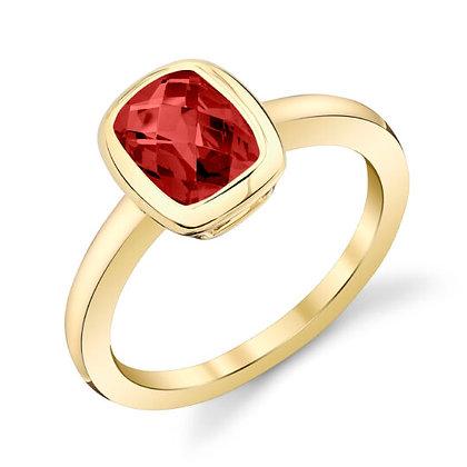 Rhodolite Garnet Cushion Ring