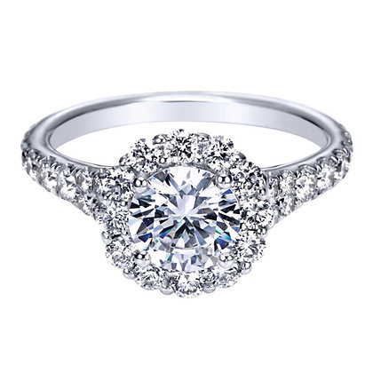 Round Halo Semi-Mount Engagement Ring