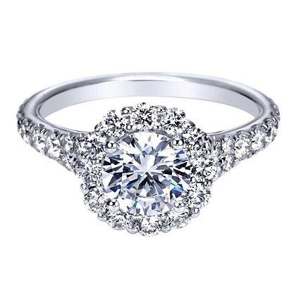 Round Halo Semi-Mount Engagement Ring
