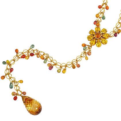 Floral Drop Sapphire Briolette Necklace