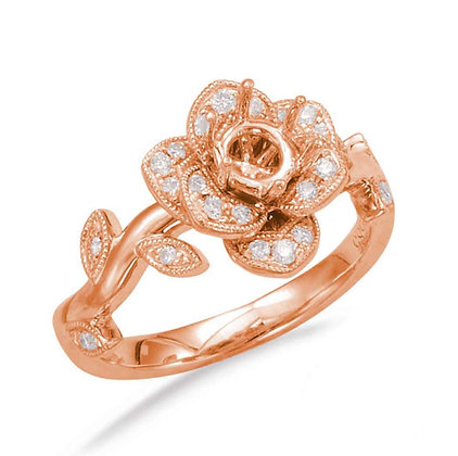 Rose Semi-Mount Ring with Diamond Accents