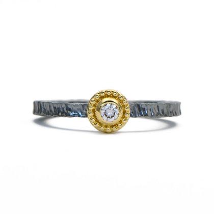 Granulated Bezel Diamond Ring