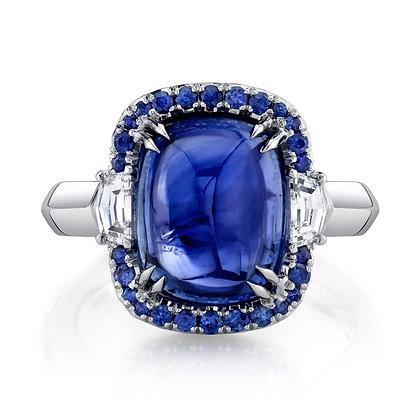 Blue Sapphire Cabochon & Diamond Ring