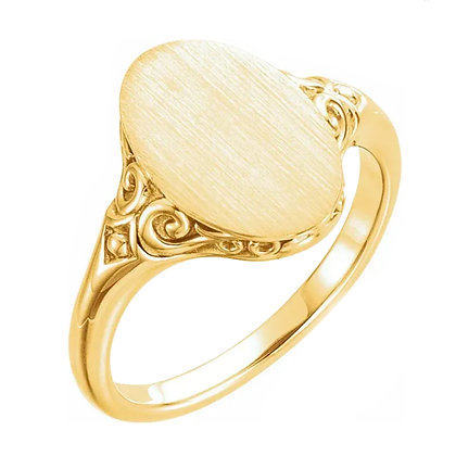 Oval Signet Ring with Scroll Work