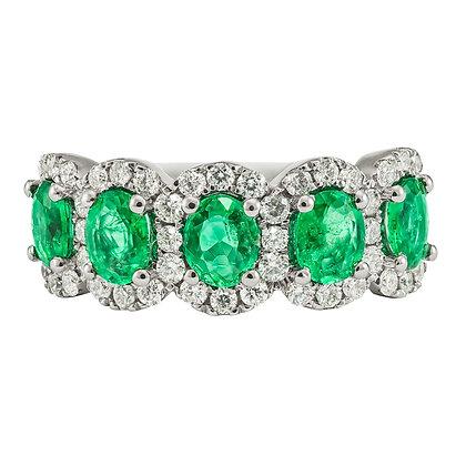 Oval Emerald & Diamond Band