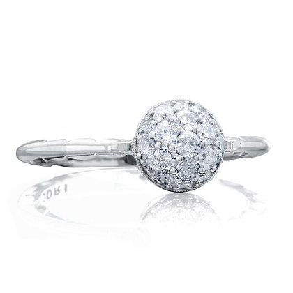 Diamond Pavé Ring with Crescent Profiles