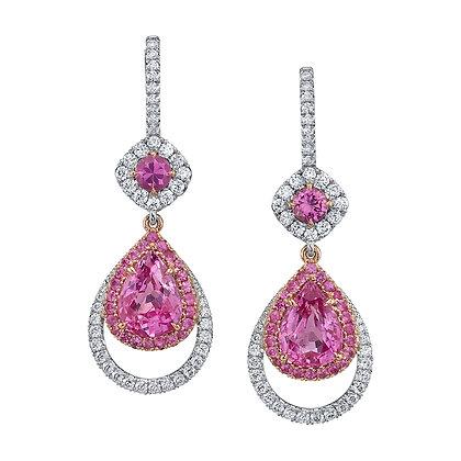 Pear-shape Pink Sapphire & Diamond Drop Earrings