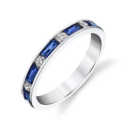 Sapphire Baguette & Diamond Alternating Band