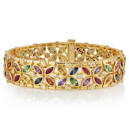 Floral Multicolored Gem Bracelet