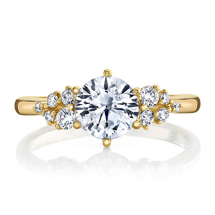 6-Prong Scattered Diamond Semi-Mount Engagement Ring