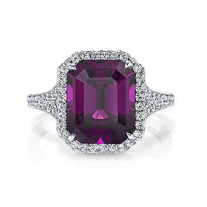Rhodolite Garnet Emerald-Cut Ring