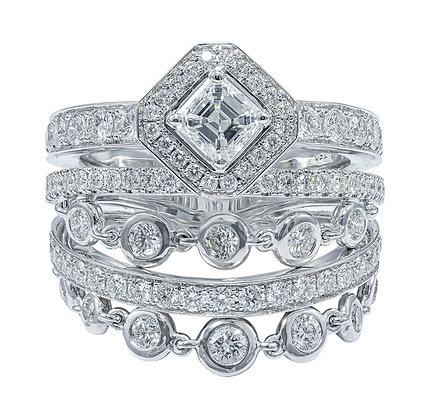 5-Row Diamond Ring with Chain Dangles & Asscher-cut Center