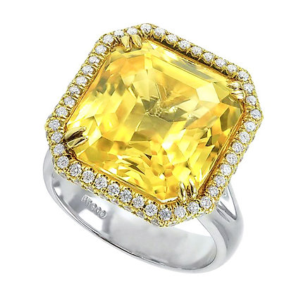 Asscher-Cut Yellow Sapphire Ring with Diamond Halo