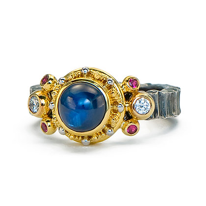 Cabochon Blue Sapphire Ring