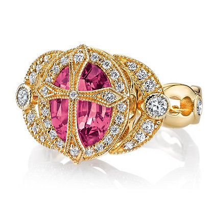 Rubellite Tourmaline & Diamond Cross Ring