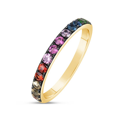 Blackened Rainbow Gemstone Band