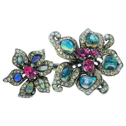 Blackened Opal & Rubelite Floral Ring