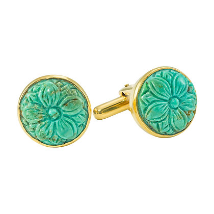 Carved Turquoise Cufflinks