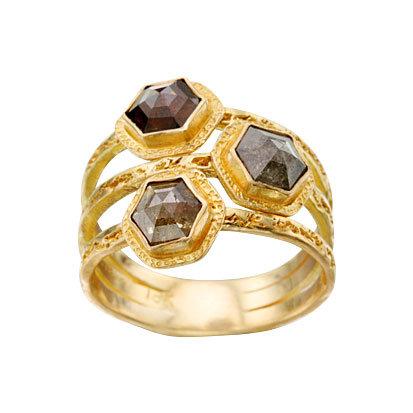 Hexagonal Brown Diamond 3-Row Ring