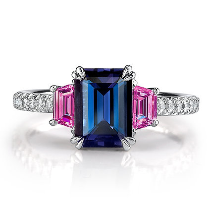 Tanzanite & Hot Pink Sapphire 3-Stone Ring