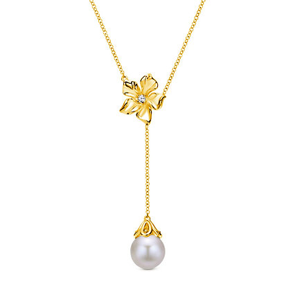 Pearl Dangle Flower Necklace