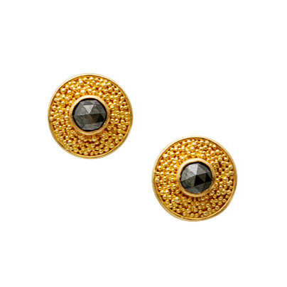 Black Diamond Studs with Granulation