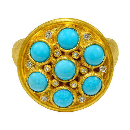 Turquoise Studded Circle Ring