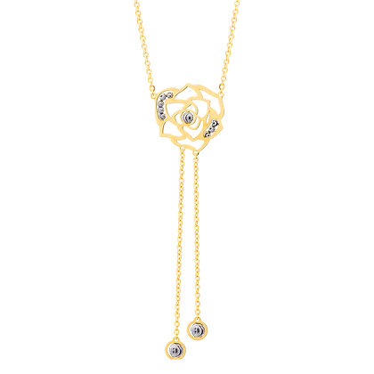 "Rose ""Y"" Necklace with Diamond-Cut Bead Accents"