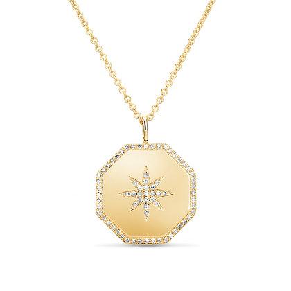 Diamond Starburst Hexagon Pendant