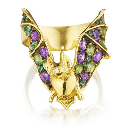 Amethyst, Garnet, Peridot & Diamond Bat Ring