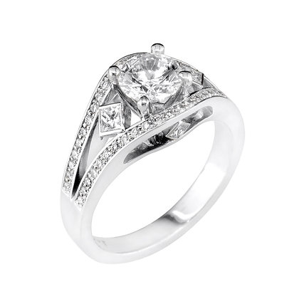 Open Shank En Pointe Sides Engagement Ring