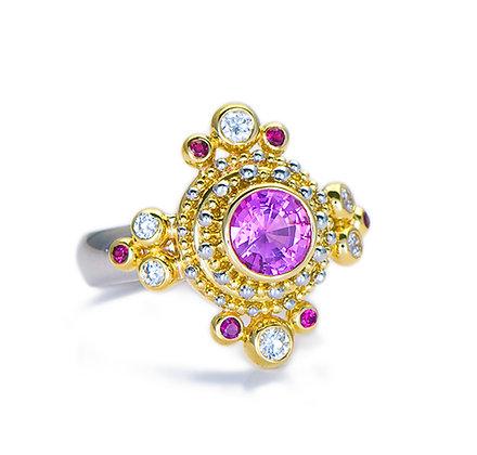 Pink Sapphire & Diamond Ring with Granulation