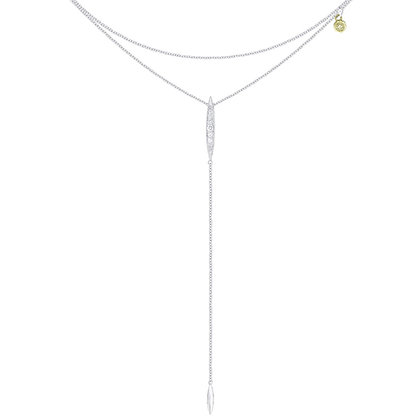 Double Strand Diamond Lariat Necklace