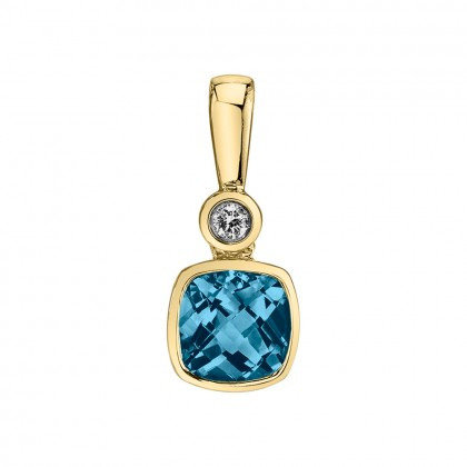 Cushion London Blue Topaz & Diamond Pendant