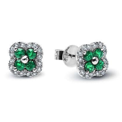 Emerald and Diamond Flower Stud Earrings