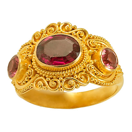 Topaz & Spinel Filigree Ring