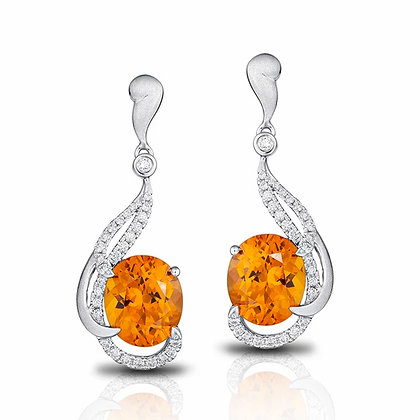 Spessartite Garnet & Diamond Drop Earrings