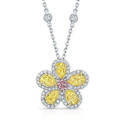 Fancy Yellow Diamond Flower Necklace