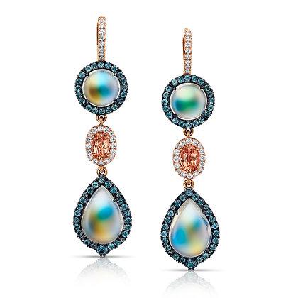 Moonstone, Precious Topaz, Alexandrite & Diamond Earrings