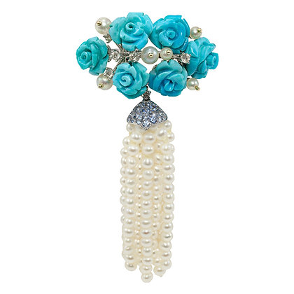 "Turquoise & Pearl ""Wedding Bouquet"" Ring"