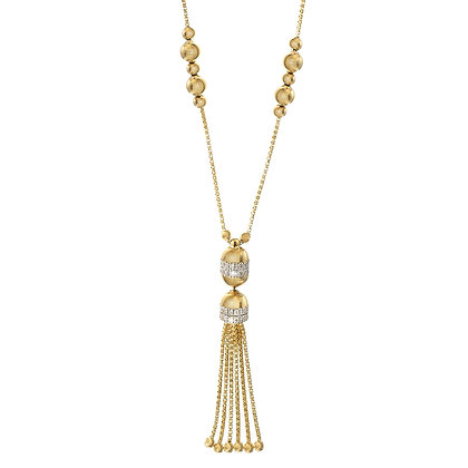 2-Row Diamond Tassel Necklace