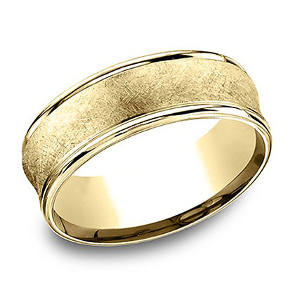 Swirl Center Concave Men's Wedding Band