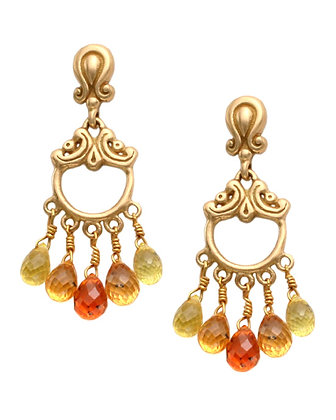 """Sunset"" Sapphire Dangle Earrings"
