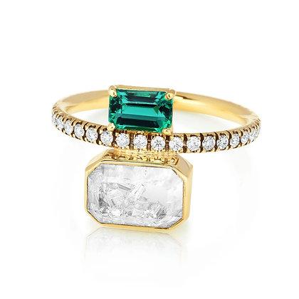 Emerald & Diamond Shaker Ring
