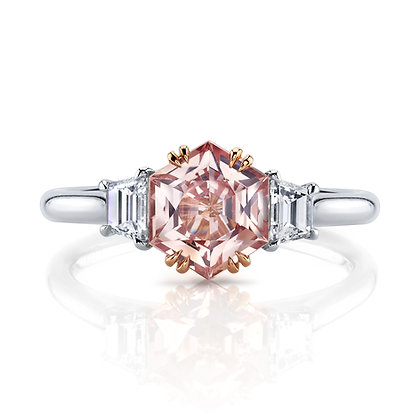 Padparadscha Sapphire & Diamond 3-Stone Ring