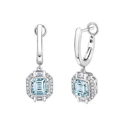 Aquamarine Octagon Earrings