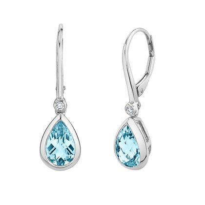 Pearshape Aquamarine Drop Earrings