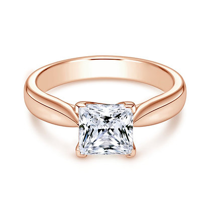 4-Prong Princess Solitaire Engagement Ring