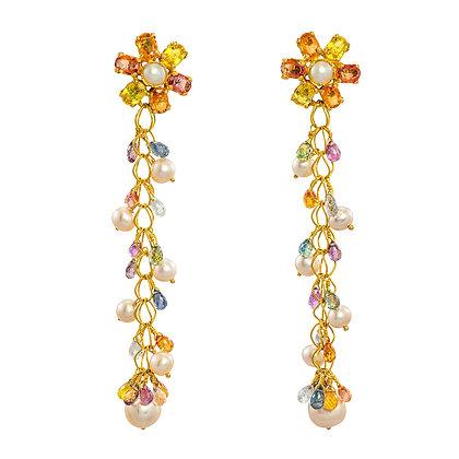 Sapphire and Pearl Dangle Earrings